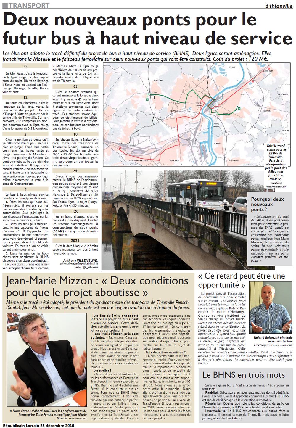 Le Républicain Lorrain Thionville-Hayange, 23 décembre 2016